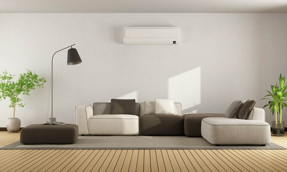 Living room with sofa and air conditioner